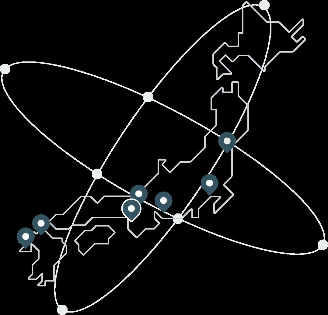 名古屋を拠点に全国に6支社のネットワーク